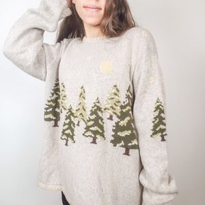 Vintage • Pines Hand embroidered Oversized sweater